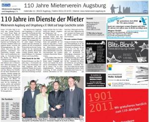 """Artikel Augsburger Allgemeine """"110 Jahre Mieterverein Augsburg"""", 28.10.2011"""